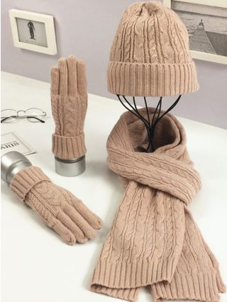 Three Pieces Fall Winter Knitting Casual Warm Hat Scarves Gloves For Woman