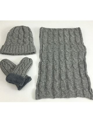 Winter Autumn Warm Three Pieces For Man Knitting Fluffy Chic Hat Scarves Gloves