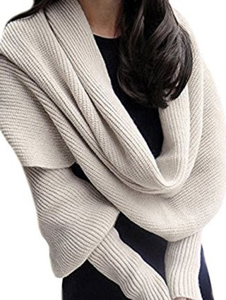 Fashion Knitting Scarves For Woman Wrap Fall Winter Warm Long Shawl With Sleeve
