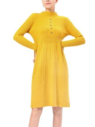 Half High-neck Long Sleeve Single Breasted Knitted Pleated Sweater Dress