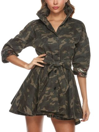 Fashion Camo Colorful Sequins Stitching Lapel Three Quarters Sleeve Single Breasted Belted Trench Coat