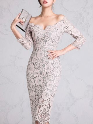 Sexy Off the Shoulder Three Quarters Sleeve Split Lace Bodycon Dress