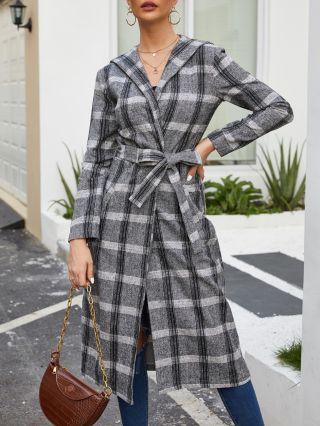 Plaid Long Sleeve Hooded Belted Pockets Women Long Woolen Overcoat
