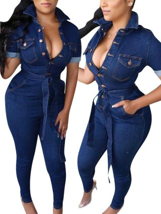 Fashion Single Breasted Long Sleeve Lapel Belted Denim Jumpsuit