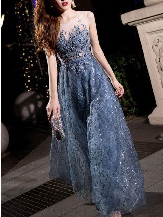 Slim Elegant Sleeveless Gauze New Year Graceful Evening Prom Dresses