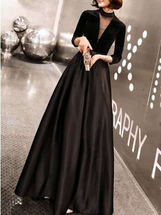 Black Sexy Gauze New Year See-through Back Zipper Graceful Noble Evening Prom Dress