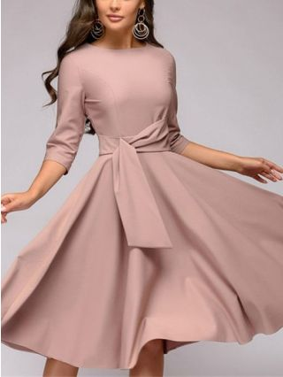 Three Quarters Sleeve Solid Color Round Neck Belted Midi Swing Dress