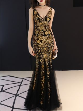Sexy V-neck Sleeveless Sequined Mermaid Noble Elegant Prom Evening Dress