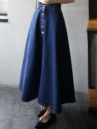 Korean Casual Denim Skirts For Woman Buttoned Swing High Waist Slim Dress With Pockets