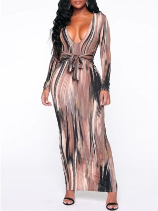 Sexy V-neck Striped Bandage Slim Fall Winter Dresses With Long Sleeve