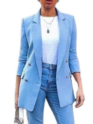 New Casual Blazers For Woman Turndown Collar Buttoned Tops