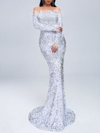 Sexy Off Shoulder Plume Sequined Train Fashion Evening Dress With Long Sleeve