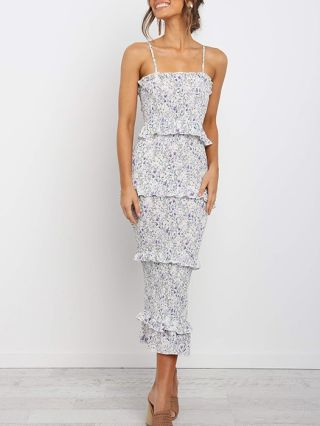 New Sexy Ruffled Printed Bodycon Tiered Camisole Summer Dress