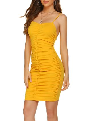 Sexy New Yellow Bodycon Backless Camisole Summer Dress