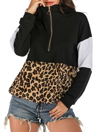 Chic Leopard Print Sweatshirt Zipper In Front Spring Fall Casual Top