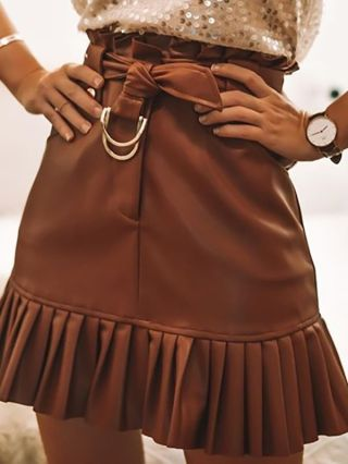 Sexy PU Ruffled Slim Belted Spring Summer Skirts With Pockets