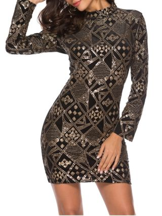 Sexy Sequined Embroidery Bodycon Club Dress With Long Sleeve