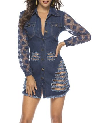 Sexy Denim Lace Cut Out See-through Turndown Collar Buttoned Dress