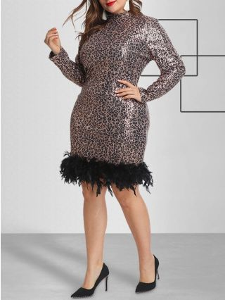 Plus Size Sequined Plume Leopard Print Dress With Long Sleeve