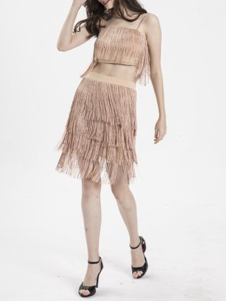 Sexy Two Pieces Tassel Fashion Camisole Backless Skirts
