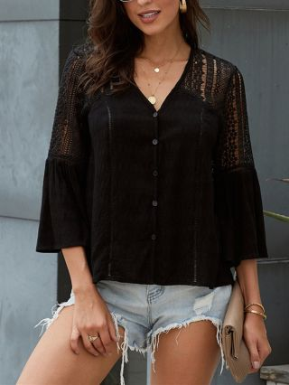 V-Neck Fashion Women Blouse Bell Long Sleeve Crochet Hollow Single Breasted Loose Tops