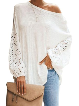 2020 Spring Summer New Solid Color Loose Round Neck Hollow Long Sleeve T-Shirt