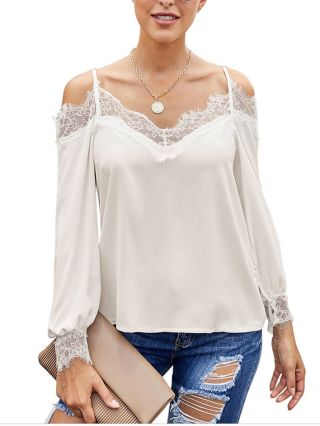 Women Lace Stitching Blouse Spring Summer New Cold Shoulder Straps Long Sleeve Backless Loose Tops