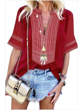 Women V-Neck Short Sleeve Embroidery Lace Vintage Loose Blouse