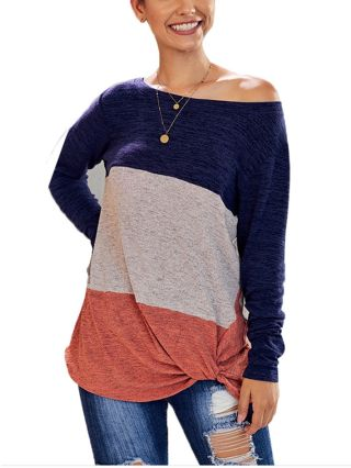 2020 Spring Summer New Contrast Color Long Sleeve Round Neck Loose Casual T-shirt