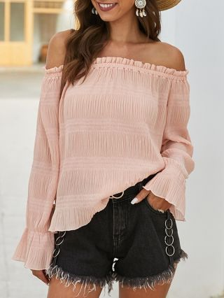 Sexy Off Shoulder T-shirts Ruffled See-through Spring Summer Tops