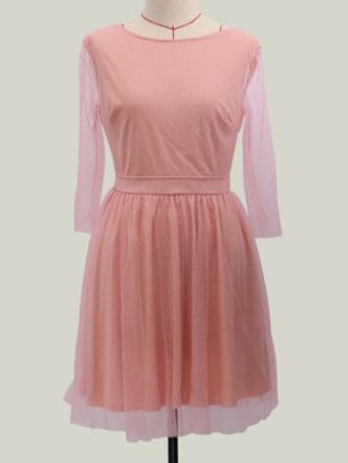 Pink Fashion Cute See-through Backless Dress With Long Sleeve