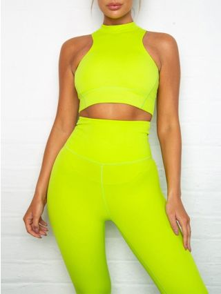 Two Pieces Fashion Yoga Leggings With Sleeveless Crop Tops