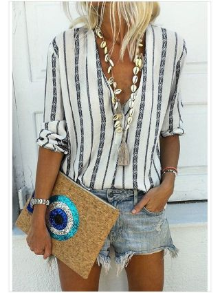 Fall V-Neck Printed Striped Blouse Long Sleeve Single Breasted Loose Tops