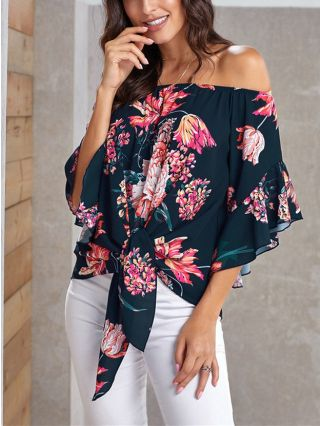Off the Shoulder Bandeau T-shirt Three Quarters Sleeve Floral Printed Bowknot Tops
