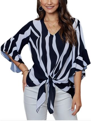 Spring Summer Striped Blouse V-Neck Three Quarters Sleeve Bowknot Tops