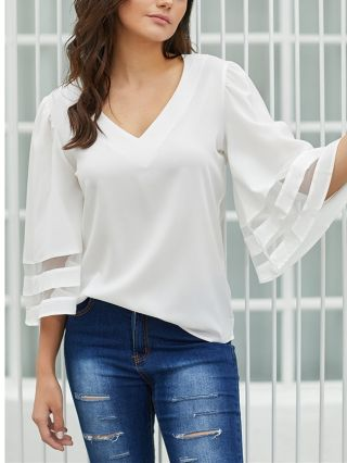 Spring Summer Solid Color V-Neck Three Quarters Sleeve Loose Women Working Blouse Casual Tops