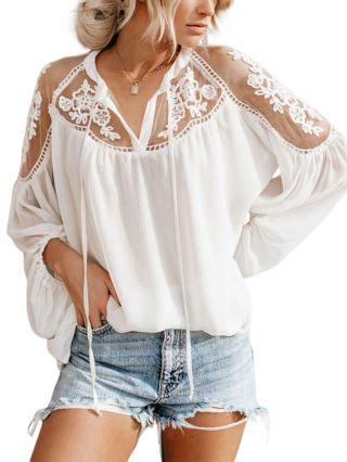 Sexy See-through V-Neck Lace Long Sleeve Loose Chiffon Blouse