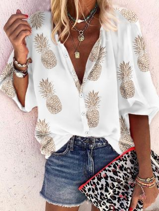 Fashion Blouse Pineapple Printed Summer Spring Buttoned Plus Size Tops