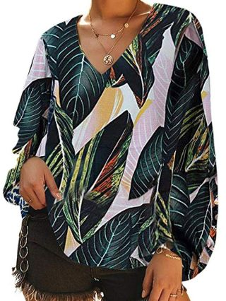 Fashion Casual T-shirts V-neck Leaves Floral Printed Tops With Lantern Sleeves