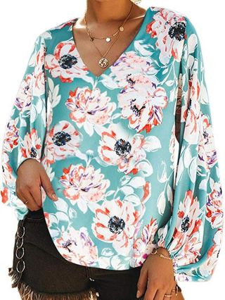 Chic Casual T-shirts V-neck Floral Printed Tops With Lantern Sleeves