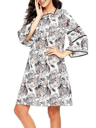 Fashion Floral Printed Summer Dress With Seven-quarter Sleeves