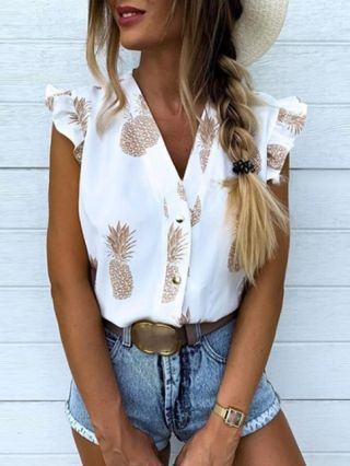 Chic Ruffled Sleeveless Blouse Shirts Pineapple Printed Buttoned V-neck Tops