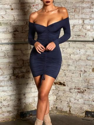 Sexy Off Shoulder Backless Bodycon Mini Club Dresses With Long Sleeve