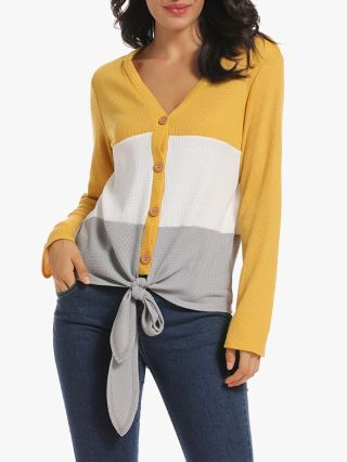 Casual V-neck Cardigan Knitting Bow Knot Buttoned Fashion Spring Fall Top