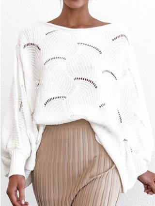 Casual Sweaters Fashion Cut Out Knitting Fall Spring Loose Tops With Bat Sleeve
