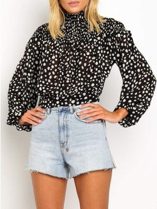 Chic Chiffon Blouse Dot Printed Spring Summer Crop Tops With Long Sleeve