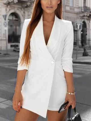 Spring Summer Long Sleeve Lapel One Button Blazer Rompers