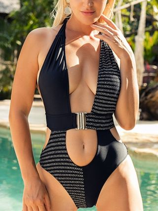 Halter One Piece Swimsuit Chains Stitching Swimwear Cut Out Buckle Bathing Suits