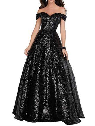 Off the Shoulder Sequined Handwork Beading Floor Length Evening Prom Dress