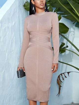 Fashion Fall Winter Bandage Dress Long Sleeve High-neck Bodycon Evening Party Dresses
